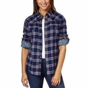 Jachs Girlfriend Flannel Long Sleeves Shirt Plaid